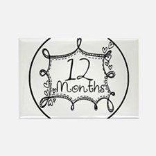12 Months Doodle Milestone Rectangle Magnet