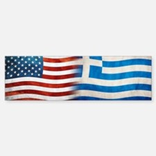 Greek American Flags Bumper Car Car Sticker