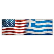 Greek American Flags Bumper Car Sticker
