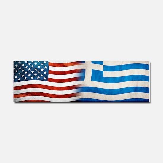 Greek American Flags Car Magnet 10 x 3