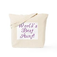 World's Best Aunt! - Purple Tote Bag