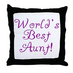 World's Best Aunt! - Purple Throw Pillow