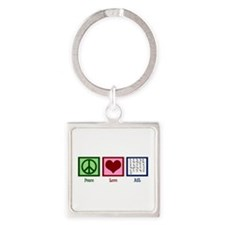 Peace Love ASL Square Keychain