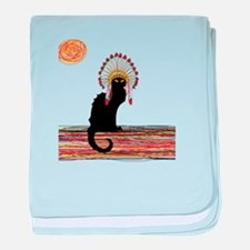 little Indian chief kitty cat baby blanket