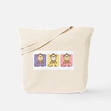 Monkey Trio Pastel Tote Bag
