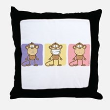 Monkey Trio Pastel Throw Pillow