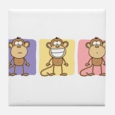 Monkey Trio Pastel Tile Coaster