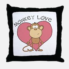 Monkey Love Throw Pillow