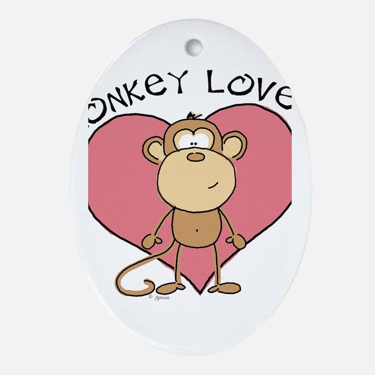 Monkey Love Oval Ornament