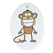 Big Monkey Grin Oval Ornament