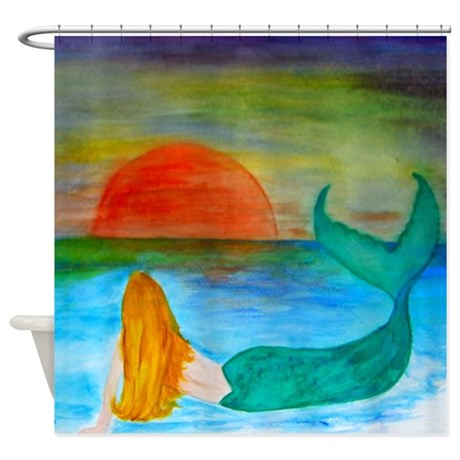 Sunset Mermaid Shower Curtain