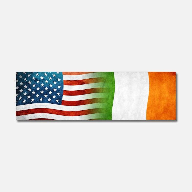Irish American Flags Car Magnet 10 x 3