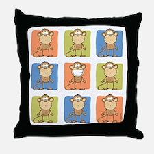 9 Monkeys Throw Pillow