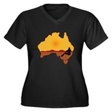 Australia Aboriginal Women's Plus Size V-Neck Dark