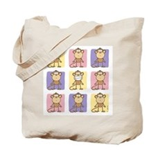 9 Monkeys Pastel Tote Bag