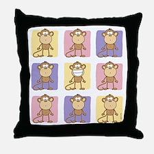 9 Monkeys Pastel Throw Pillow