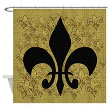 Black Fleur de lis Shower Curtain