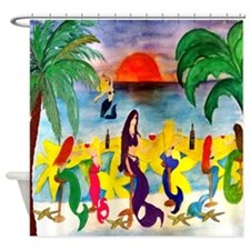 Mermaid Tiki Wine Bar Shower Curtain