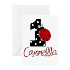 1st Birthday Ladybug - CARMELLA Greeting Cards (Pk