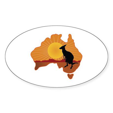 Australia Kangaroo Sticker (Oval)