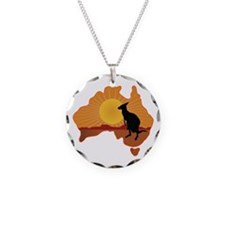 Australia Kangaroo Necklace Circle Charm
