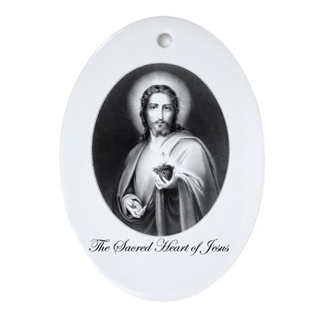 The Sacred Heart of Jesus Oval Ornament