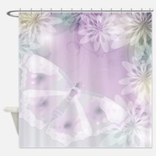 White Butterfly Floral Shower Curtain