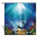 Underwater Scene Shipwreck Shower Curtain