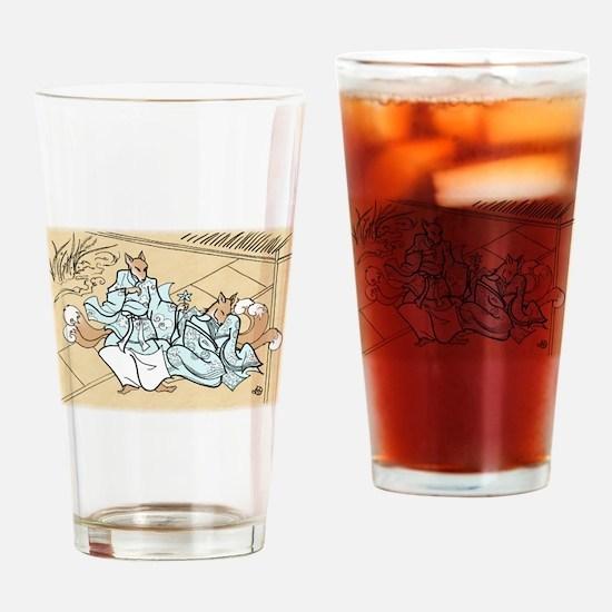 Kitsune Lovers Drinking Glass