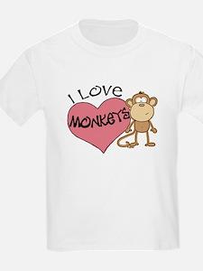 I Love Monkeys Kids T-Shirt