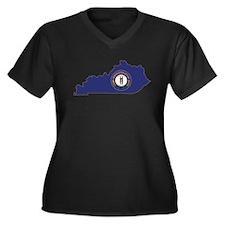Kentucky Flag Women's Plus Size V-Neck Dark T-Shir