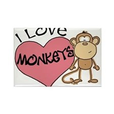 I Love Monkeys Rectangle Magnet
