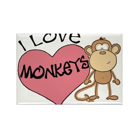 I Love Monkeys Rectangle Magnet
