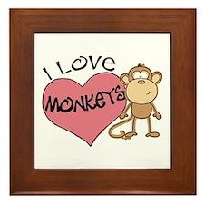 I Love Monkeys Framed Tile