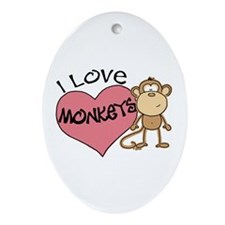 I Love Monkeys Oval Ornament