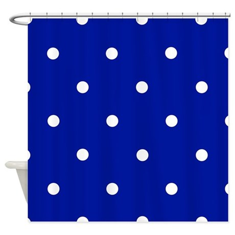 39 Royal Blue Dots 39 Shower Curtain By Applepip3