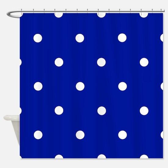 'Royal Blue Dots' Shower Curtain