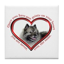 Keeshond Paw Prints Tile Coaster