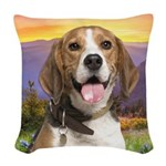 Beagle Meadow Woven Throw Pillow