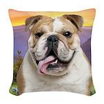 Bulldog Meadow Woven Throw Pillow