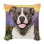 Pit Bull Meadow Woven Throw Pillow