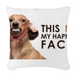 Happy Face Dachshund Woven Throw Pillow