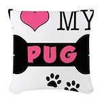 dogboneILOVEMY.png Woven Throw Pillow