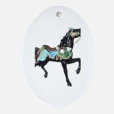 black carousel horse Oval Ornament