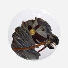 gray carousel horse Ornament (Round)