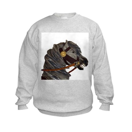 gray carousel horse Kids Sweatshirt