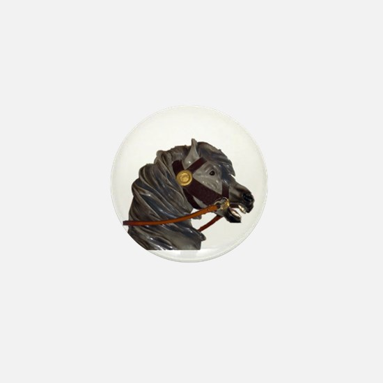 gray carousel horse Mini Button