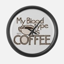 Blood Type Coffee Large Wall Clock