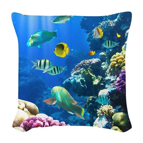 Ocean Life Woven Throw Pillow