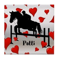 Fun Horse Jumper and Hearts Tile Coaster